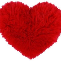 Red Faux Fur Heart Shaped Decorative Pillow Classic Size