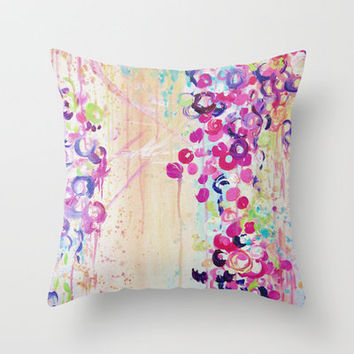 DANCE OF THE SAKURA - Lovely Floral Abstract Japanese Cherry Blossoms Painting, Feminine Peach Blue  Throw Pillow by EbiEmporium