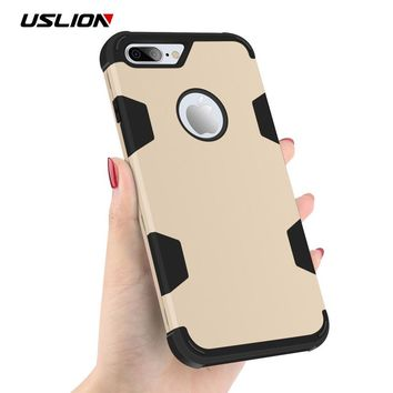 USLION Phone Case For iPhone 6 6s 7 Plus Shockproof Armor Hard PC Matte Back Cover 360 Full Protective Cases For iPhone7 Plus