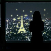 2016 Art Romantic Paris Eiffel Tower Night Luminous Fluorescent Wall Sticker Mural Removable Decal Room Decor DIY Wallpaper