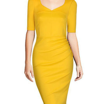 Yellow V-neck Half Sleeve Midi Pencil Dress