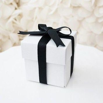 10 White Square Favor Boxes with Lid Wedding Baby Shower Gift Box Container