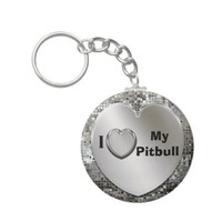 I Love My Pitbull Heart Keychain from Zazzle.com