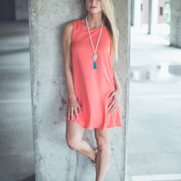 Everyday Shift Dress in Coral