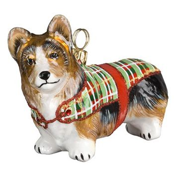 Joy to the World Collectibles 'Dog in Tartan Sweater' Ornament - Brown