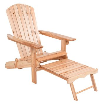 Giantex Foldable Adirondack Chair Wood with Removable Ottoman Patio Deck Garden Chairs Modern Outdoor Furniture HW56973