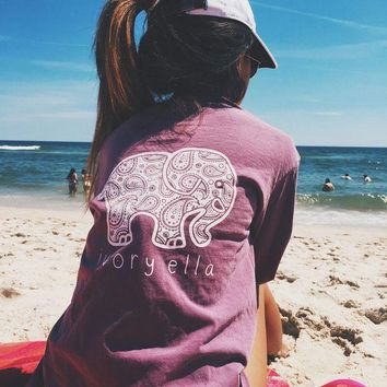 ONETOW 2017 women's Summer Casual Tops Tees Ivory Ella Elephant Long Sleeve t-shirts For Women