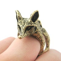 Detailed Fox Shaped Animal Armor Joint Knuckle Ring in Bronze   Sizes 5 to 9