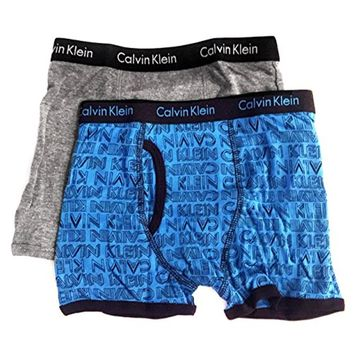 Calvin Klein Little/Big Boys' Assorted Boxer Briefs (Pack of 2), Blue/Grey,6/7