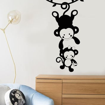 Vinyl Wall Decal Funny Monkey Family Zoo Animals Nursery Decor Stickers Unique Gift (1211ig)