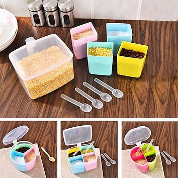 ZELU Apple Shape Transparent Plastic Flavouring Box Condiment Pot Sets Cooking Seasoning Jars Salt Sugar Spice Storage Bins