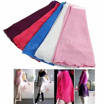 New Adult Girl Women Chiffon Ballet Tutu Skirt Dance Skate Wrap Scarf Costume 5 colors Free Shipping