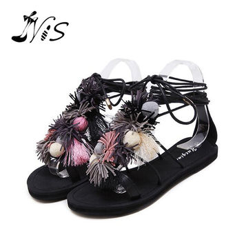NIS 2017 Multi Color Lady Summer Beach Shoes,Leather Pom Pom Strap Woman Sandals, Lace Up Gladiator Flat Heel Girls Flip Flops