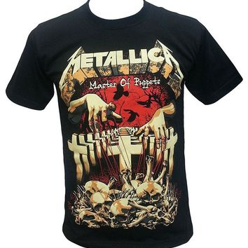 Metallica Master Of Puppets American Heavy Metal T Shirt Black Crew Neck Short-Sleeve Mens T Shirts