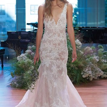 Monique Lhuillier Keaton Plunge Lace Trumpet Gown (In Stores Only) | Nordstrom