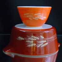 2 Autumn Harvest Vintage Pyrex Dishes Wheat Stalk Pattern Rust Burnt Orange 401 and 475