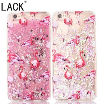 LACK Pretty Dynamic Glitter Stars Liquid Case For iPhone 6 Cartoon Animal Flamingo Phone Cases For iphone 6S 6Plus Back Cover