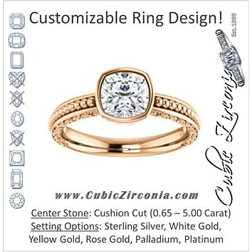 Cubic Zirconia Engagement Ring- The Cheyenne (Customizable Cushion Cut Bezel-set Solitaire with Beaded Filigree Three-sided Band)