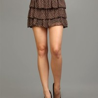 G2 Fashion Square Floral Print Tier Mini Skirt