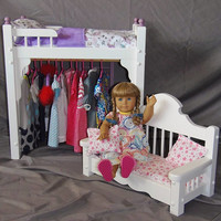 American Girl Doll Bed and clothes storage unit combo with adorable doll sofa included
