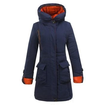 Z.D.SUIYUE Women's Warm Comfortable Long Duck Down Slim Parka Jacket With Hood (Medium, Dark Blue)