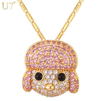 U7 Colorful Cubic Zirconia Poodle Necklace Dog Pendant & Chain Neckalces For Women Animal Jewelry Gift P1092