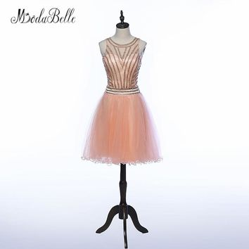 modabelle Peach Color Beaded Short Prom Dress Sheer Backless Cheap Vestidos De Coctel Soft Tulle Graduation Dresses 2018