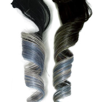 READY TO SHIP 2 #1b Ombre Pastel Rainbow Clip in Human Hair Extensions Emerald Mint Green Silver Grey Mermaid Unicorn Ombre Double Tone
