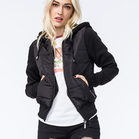 Jou Jou Womens Hooded Puffer Jacket Black  In Sizes