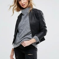 Vila Leather Look Jacket at asos.com