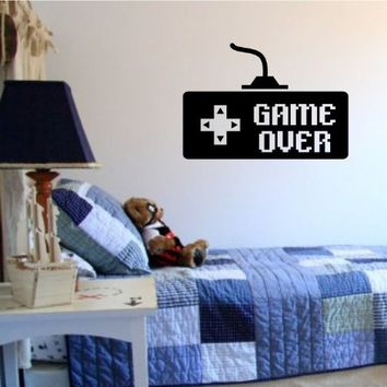 Game Over Controller Video Game Gamer Decal Sticker Wall Boy Girl Teen Child Sport Fight