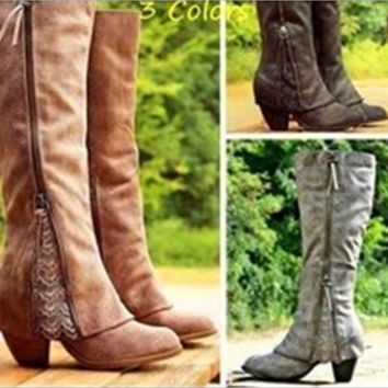 High-heeled rough with flanging fashion high boots