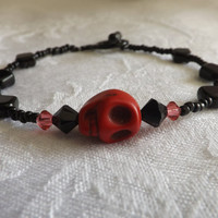 Red & Black Candy Skull Bracelet
