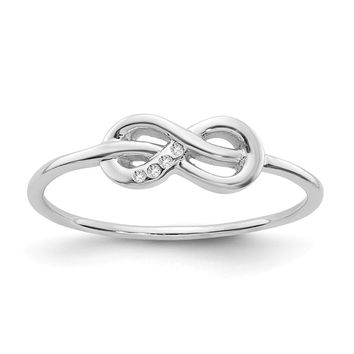 Sterling Silver White Ice Infinity Knot Diamond Ring