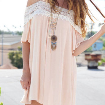 Lace Splicing Off Shoulder Sexy Strap Dress