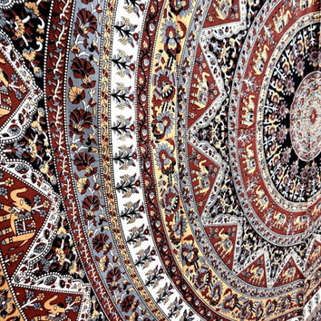 Brown Star Mandala Tapestry Wall decor Hanging Bedspread