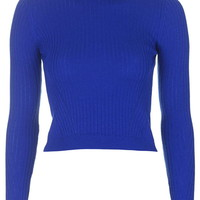 Ribbed Wool Blend Cropped Sweater