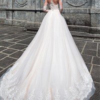 [218.99] Charming Tulle & Satin Bateau Neckline A-Line Wedding Dresses With Lace Appliques - dressilyme.com