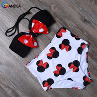 Sexy Women Swimsuit High Waist Bikini Set Cute Animal Style Bow-knot Top With Removable Padded Bandeau Swimwear