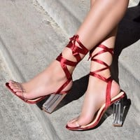 Satin Lace Up Clear Heels