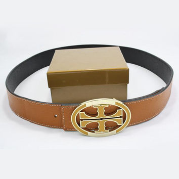 TORY BURCH Men Woman Fashion Smooth Buckle Belt Leather Belt