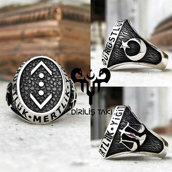 Scales of justice and crescent star 925k sterling silver mens ring