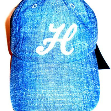 Tommy Hilfiger Chambray Denim Look Ball Cap White Embroidered Script Logo Hat