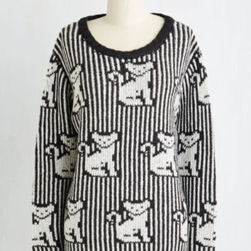 Quirky Mid-length Long Sleeve Paws Celebre Sweater