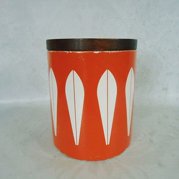 Mid Century Orange Cathrineholm Kitchen Canister - Vintage Orange Lotus Canister - Orange Cathrineholm