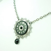 Neo-Victorian Steampunk Black Beauty Necklace with vintage watch dial & crystal by VictorianFolly
