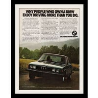 "1977 BMW 530i Car Ad ""Enjoy"" Vintage Advertisement Print"
