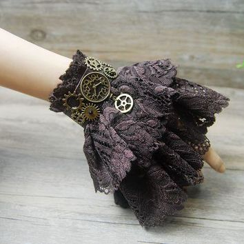 Vintage Retro Steampunk Gears Wrist Cuff Bracelet Victorian Brown Lace Charm Costume Accessory Gothic Jewelry