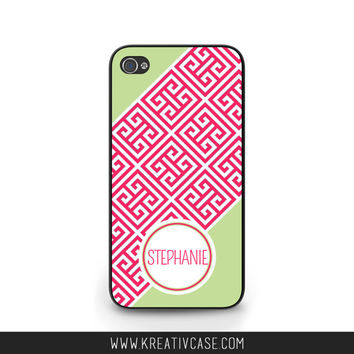Pink Greek Key Phone Case, Custom, Personalized, iPhone 4 4s 5 5s 5C, Samsung Galaxy s3 s4 s5, BlackBerry z10 Q10, Phone Cover - K347