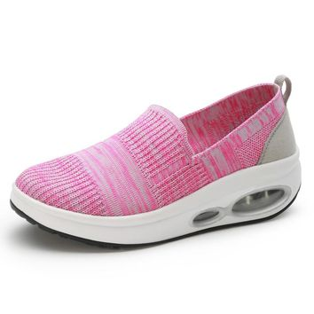 Women Breathable Slim Wedges Sneakers Shoes Women Platform Air Cushion Swing Toning Shoes